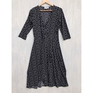 Leota polka dot faux wrap dress M black white